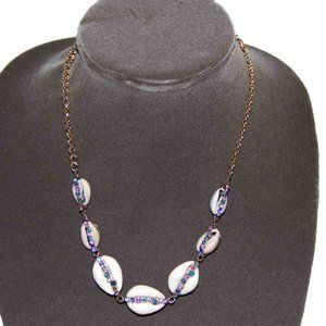 Betsey Johnson Necklace Cowie Shell + Crystals